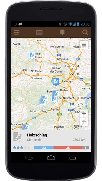 App für Klettergebiete auf Karte