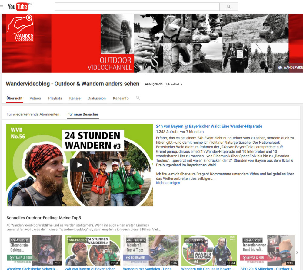 Der YouTube-Kanal vom Wandervideoblog